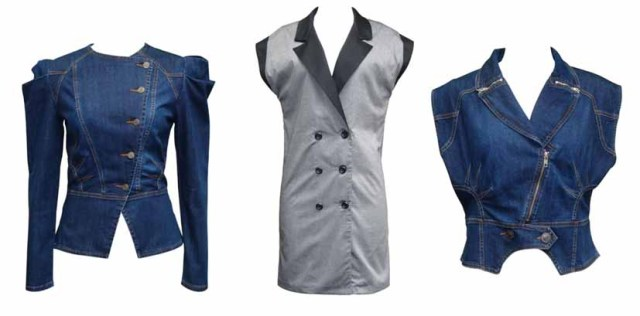 1 Alexis Denim Jacket, 2 Double Breasted Vest Dress, 3 Alexis Denim Vest