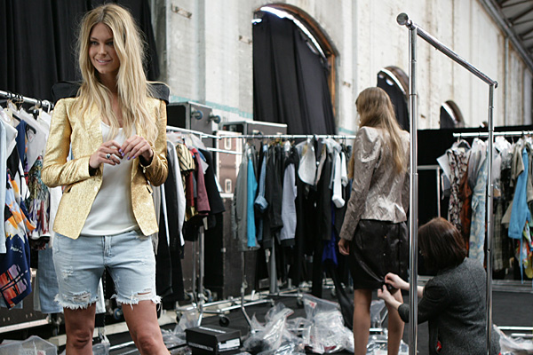 Jennifer Hawkins backstage at the Myer Spring Launch, Sydney