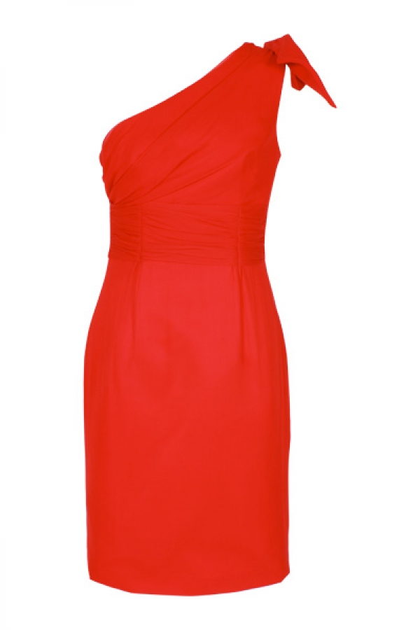 Allegra One Shouldered Bow Dress in Chilli $599
