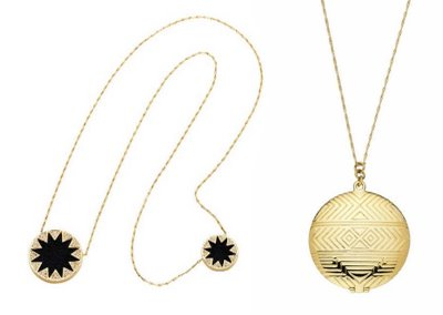 Double Sunburst Stations Necklace and Medallion Locket Necklace