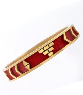 Aztec Bangle - Red Leather