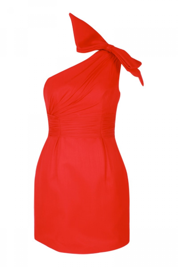 Suzie One Shoulder Bow Dress in Chilli $499