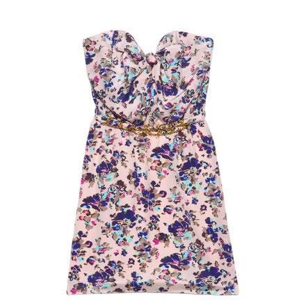 Lola knot strapless dress in whisper floral