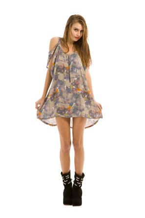 Day tripper front zip dress in digital floral